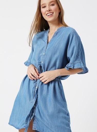 Only Only Fır Fır Detaylı Denim Elbise Mavi
